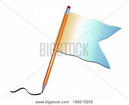 Sharp Pencil With Colorful Flag, Pencil Stroke At Tip