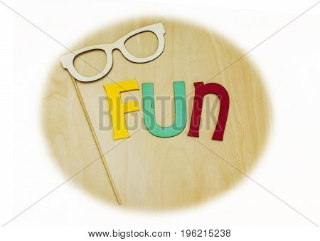 Vintage Wooden Letters Spelling Fun In Yellow, Blue And Red, Glasses Mask