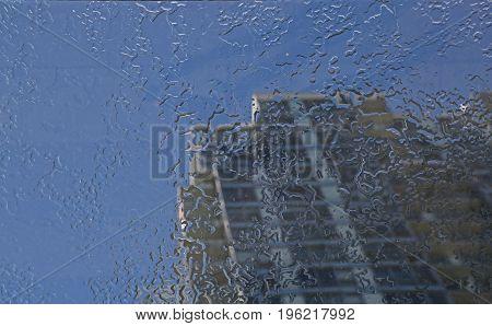 Concept freshess modern city transparent foof after rain