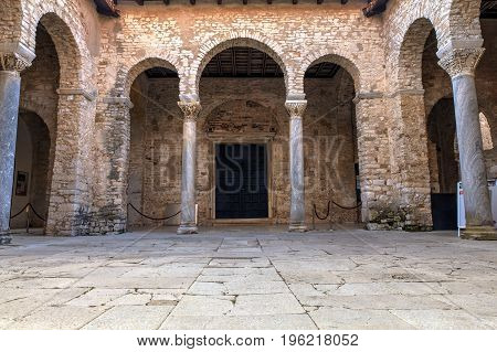 Atrium of the Euphrasian Basilica in Porec Istria. Croatia