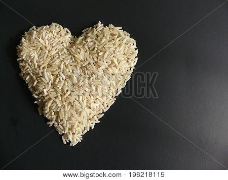 Black background white heart rice japanese kitchen