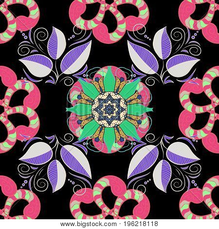 Orient symmetry lace fabric. Wedding holiday card. East Islam Indian motifs. Ethnic texture. Colored. Arabic Mandala pattern on colorful background. Vintage vector decorative ornament.