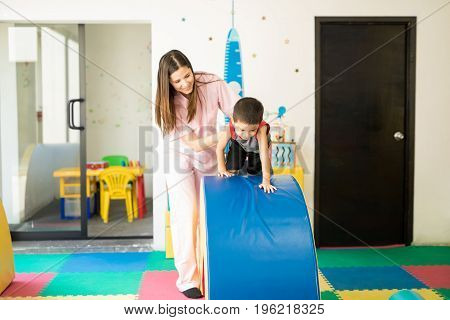 Kid Going Through And Obstacle Course