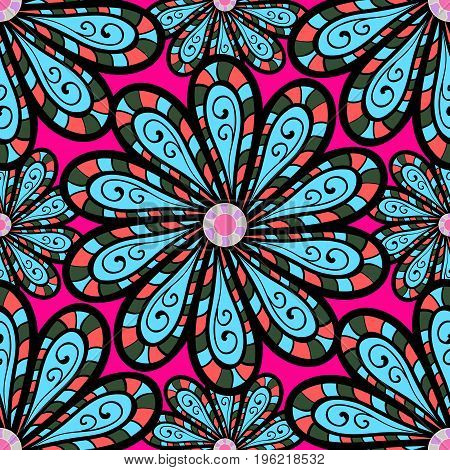 Art inspi style flowers and leaves background. Doodle flowers seamless pattern. Vector pattern. Hand drawn pattern.