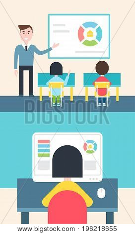 Blended Learning and Flipped Classroom Model Vector Illustration