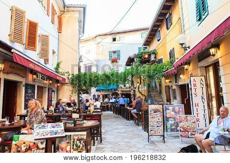 POREC CROATIA - JULY 14: View of restaurants pubs and bars in the center town on July 14 2017