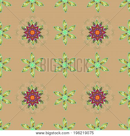 Vector illustration. Flowers on colorful background. Abstract seamless pattern with hand drawing flowers.