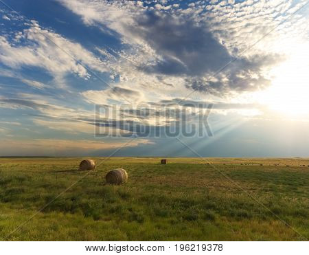 Sunbeam Light Rays Shining Down on Country Landscape