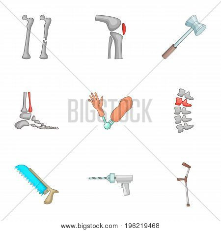 Orthopedics and prosthetics medicine icons set. Cartoon set of 9 orthopedics and prosthetics medicine vector icons for web isolated on white background