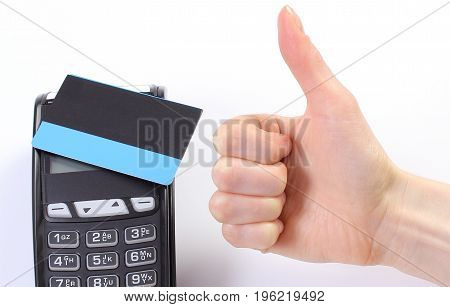 Hand Of Woman Showing Thumbs Up, Payment Terminal With Contactless Credit Card