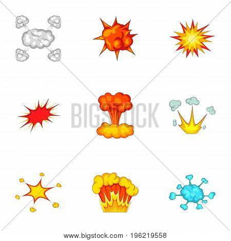 Abstract explosion icons set. Cartoon set of 9 abstract explosion vector icons for web isolated on white background