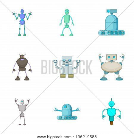 Robots invaders icons set. Cartoon set of 9 robots invaders vector icons for web isolated on white background