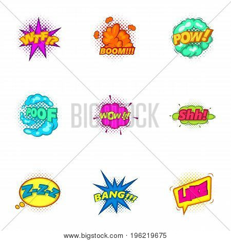 Explosive sticker with pop art shadow icons set. Cartoon set of 9 explosive sticker with pop art shadow vector icons for web isolated on white background