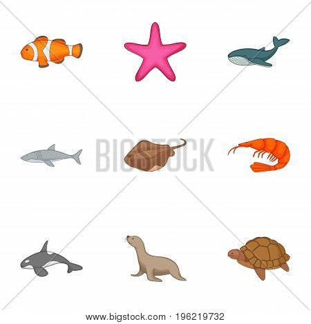 Underwater animals icons set. Cartoon set of 9 underwater animals vector icons for web isolated on white background
