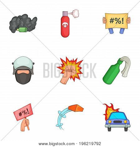 Vandalism icons set. Cartoon set of 9 vandalism vector icons for web isolated on white background