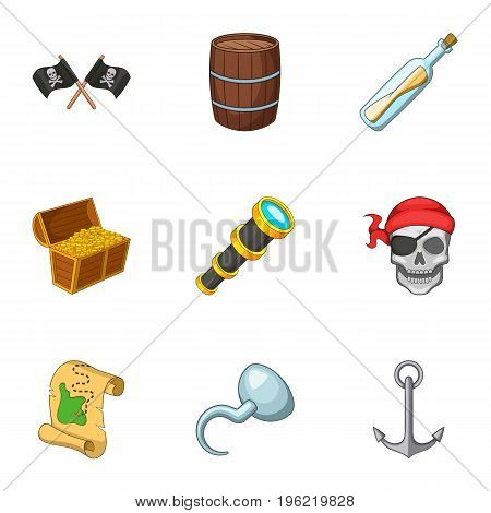 Pirate equipment icons set. Cartoon set of 9 pirate equipment vector icons for web isolated on white background
