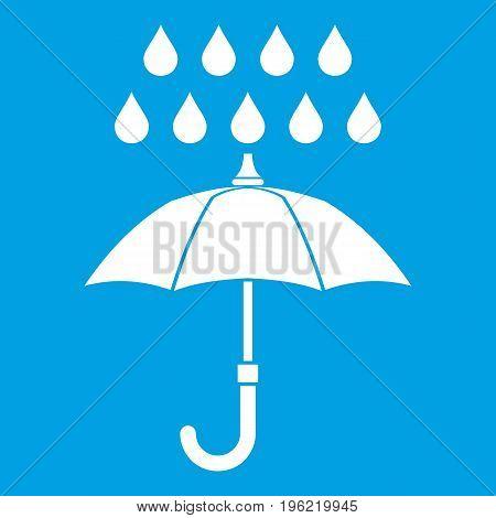 Umbrella and rain icon white isolated on blue background vector illustration
