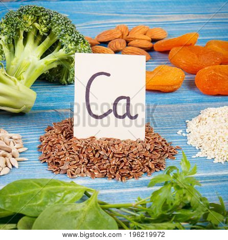 Products Containing Calcium, Natural Minerals And Dietary Fiber, Healthy Nutrition Concept