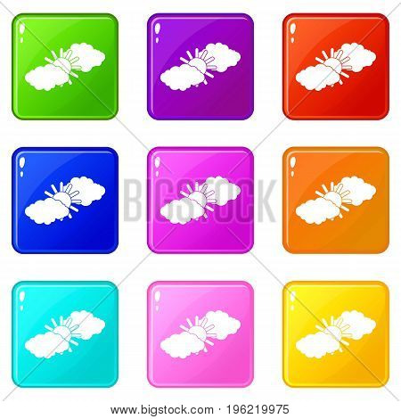 Sun and clouds icons of 9 color set isolated vector illustration