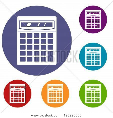 Electronic calculator icons set in flat circle red, blue and green color for web