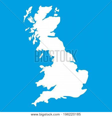 Map of Great Britain icon white isolated on blue background vector illustration