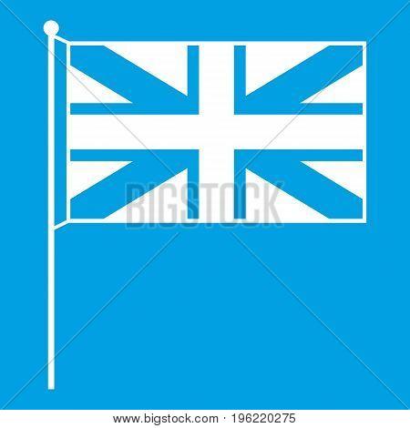 UK flag icon white isolated on blue background vector illustration