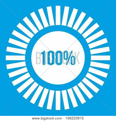 Sign 100 download icon white isolated on blue background vector illustration