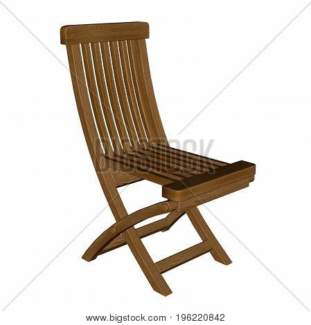 Wooden chair isolated in white background - 3D render