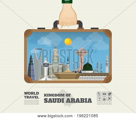Hand Carrying Saudi Arabia Landmark Global Travel And Journey Infographic Bag. Vector Flat Design Te