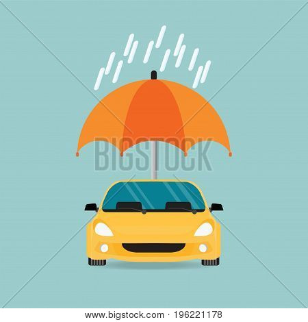 Car insurance car protected under umbrella conceptual isolated on background cae safety security vector illustration.