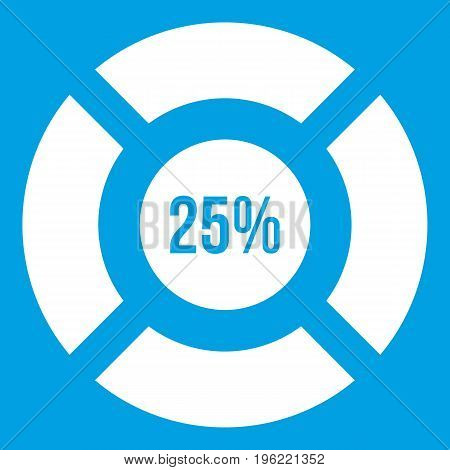 Sign 25 load icon white isolated on blue background vector illustration