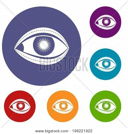 Plastic surgery of eye icons set in flat circle red, blue and green color for web