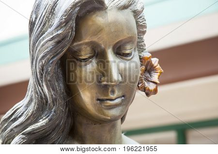 LA JOLLA, CALIFORNIA/USA - JULY 15, 2017: Head shot of the bronze statue of The Mermaid of La Jolla in La Jolla, California