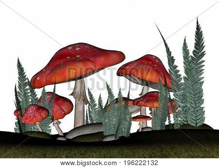 Red amanita muscaria mushrooms and vegetation isolated in white background - 3D render