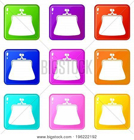 Women wallet icons of 9 color set isolated vector illustration