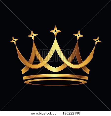 Crown. Gold symbol icon on black background. Vector illustration.