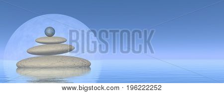 White stones upon water in front of big full moon by clear night - 3D render