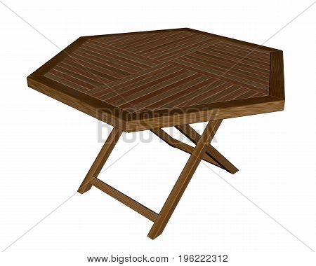 Wooden folding table isolated in white background - 3D render