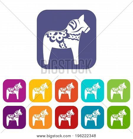Toy horse icons set vector illustration in flat style in colors red, blue, green, and other