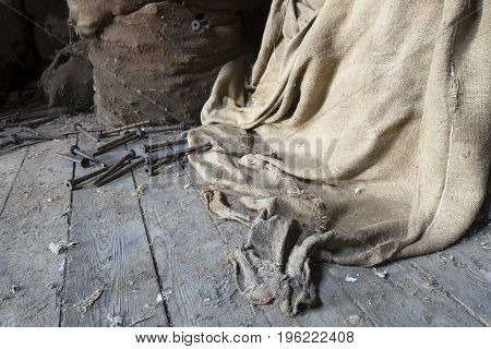Burlap Blanket On Dirty Floor