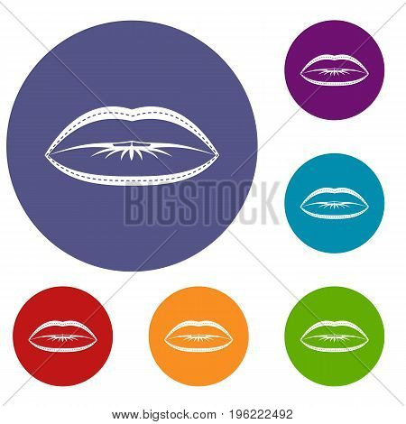 Lips with lines drawn around it icons set in flat circle red, blue and green color for web