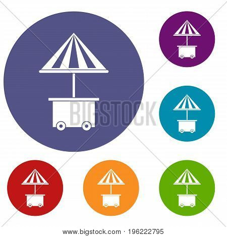 Mobile cart with umbrella for sale food icons set in flat circle red, blue and green color for web