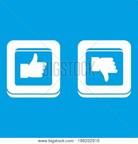 Signs hand up and down in squares icon white isolated on blue background vector illustration