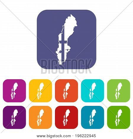 Map of Sweden icons set vector illustration in flat style in colors red, blue, green, and other