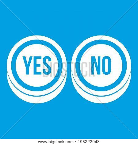Round signs yes and no icon white isolated on blue background vector illustration