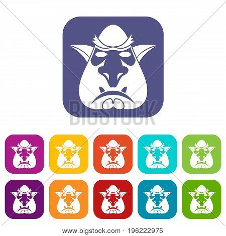 Head of troll icons set vector illustration in flat style in colors red, blue, green, and other