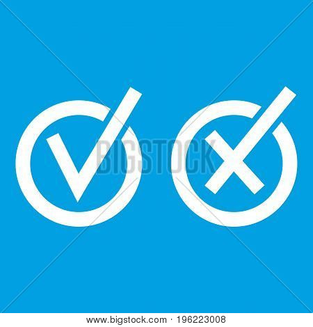 Signs of choice of tick and cross in circles icon white isolated on blue background vector illustration