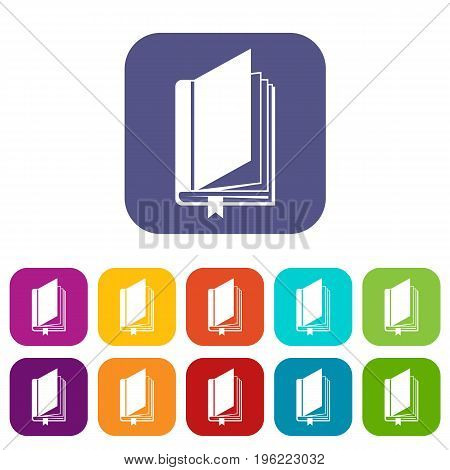 Book with bookmark icons set vector illustration in flat style in colors red, blue, green, and other