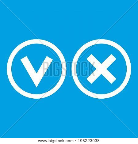 Signs of choice of tick and cross icon white isolated on blue background vector illustration