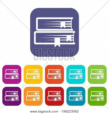 Two books icons set vector illustration in flat style in colors red, blue, green, and other